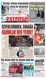 Günlük Evrensel Gazete Manşeti